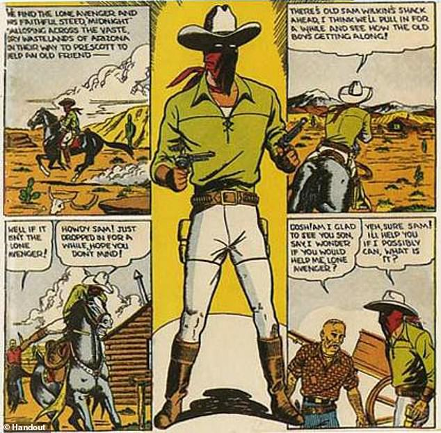 By his mid-20s Lawson was a well-known illustrator, earning £70 a week for producing the Action Comic's characters The Lone Avenger (pictured) and The Hooded Rider