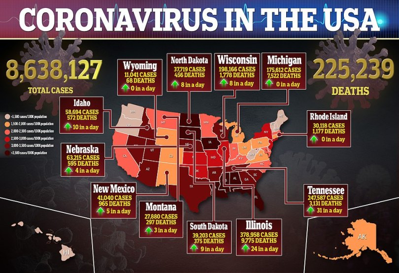 As of Monday morning the US has recorded more than 8.63 million coronavirus cases and 225,239 deaths