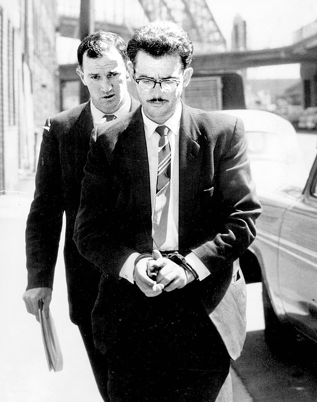 Len Lawson first went to prison in 1954 after raping at least two of five models he lured to Terrey Hills. In 1961 he raped and murdered a 16-year-old girl at Collaroy and the next day shot dead a girl, 15, at Moss Vale. He is pictured outside the Coroner's Court on January 25, 1962