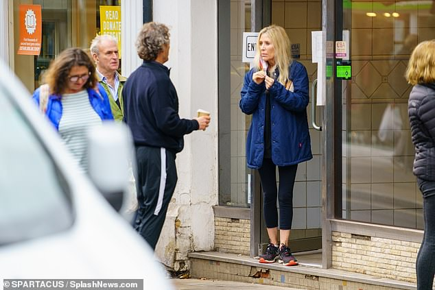 Comfy: Mark kept things equally casual by wearing a sports jacket with tracksuit bottoms, as the pair opted for comfort over style