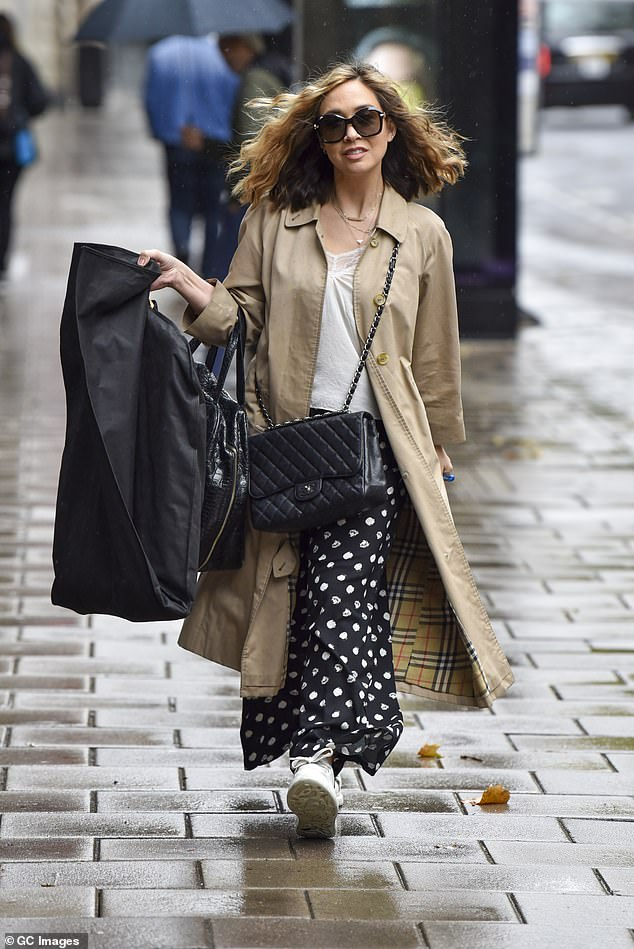 Look fabulous: She has a busy schedule, juggling her radio show and workout Dancing On Ice and Myleene Klass dressed for her hectic day on Tuesday