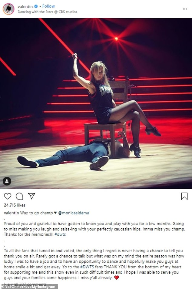 Val gushed in an Instagram post, `` Proud of you and grateful that I got to know and play with you for a few months.  Go miss making you laugh and salsa-ing with your perfectly Caucasian hips.  I miss you, champion.  Thanks for the memories! '