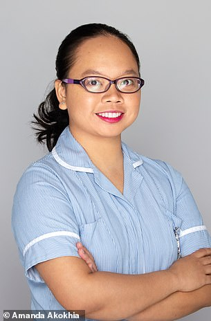 Aster Camer, a paediatric staff nurse at St George's Hospital, in her uniform before the shoot