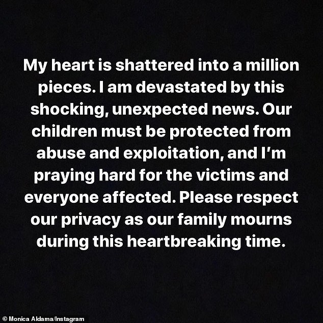 The algebra instructor wrote on Instagram at the time: `` My heart is broken into a million pieces.  I am devastated by this shocking and unexpected news.  Our children must be protected from abuse and exploitation, and I pray hard for the victims and all those affected '