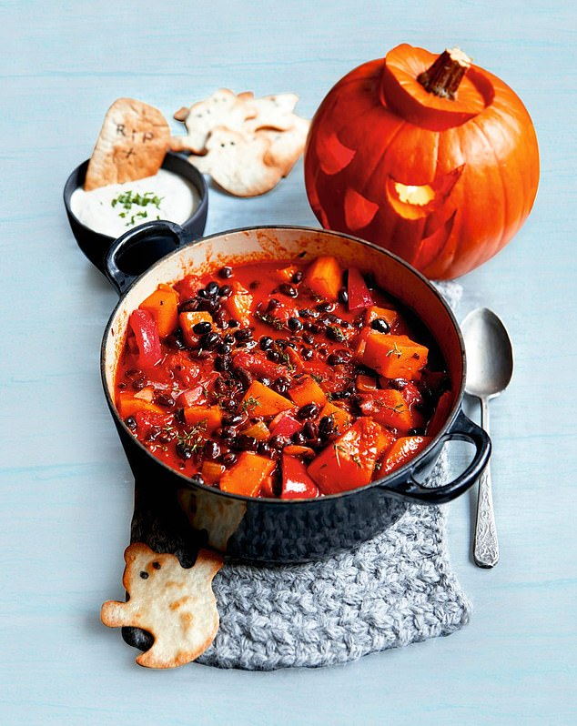 Squash & bean chilli with ghost tortillas is best served with a soured cream, garlic and chives dip