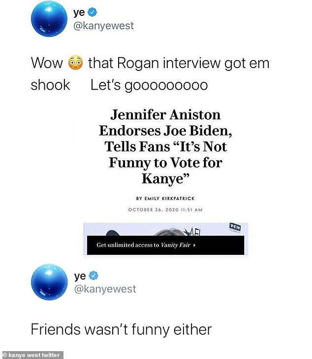 "Mad West: ""Wow, that Rogan interview rocked them Let's gooooooooom;  wrote Kim Kardashian's husband who posted a screenshot of the Vanity Fair article Jennifer Aniston endorses Joe Biden, telling fans 'It's no fun voting for Kanye'"