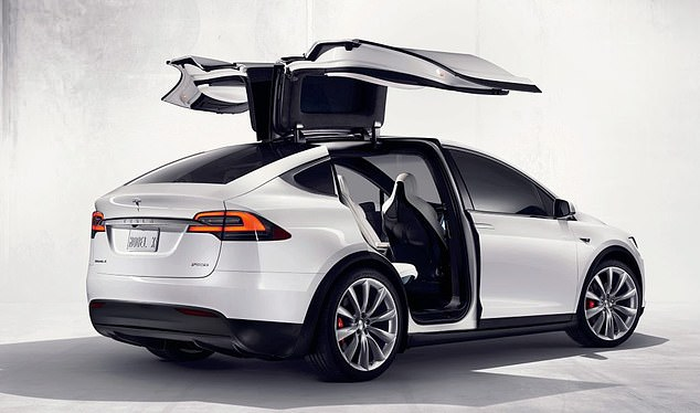 Tesla Model X (pictured) which charges in about 30 minutes, features a 17in touchscreen, cabin control and a radar