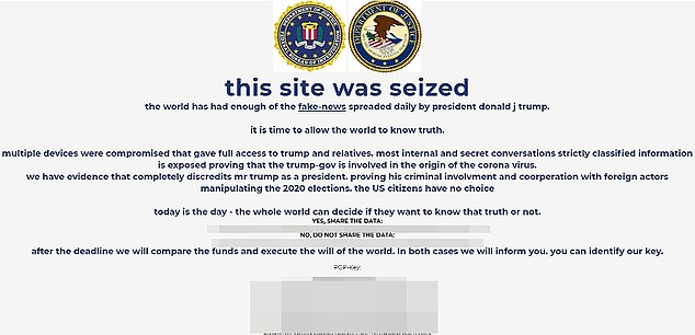 A message reading, 'this site was seized' appeared briefly on the homepage of DonaldJTrump.com, before the website was taken offline completely just after 7:20pm.