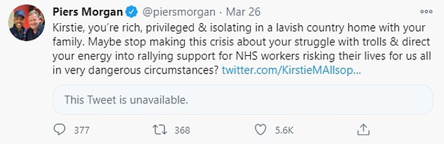 Calling out: While Piers called out Kirstie on Twitter in March after she complained she was being trolled over confusion over her two homes in Devon during the height of lockdown