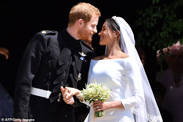 Harry and Meghan after their wedding in St George's Chapel at Windsor Castle on May 19, 2018