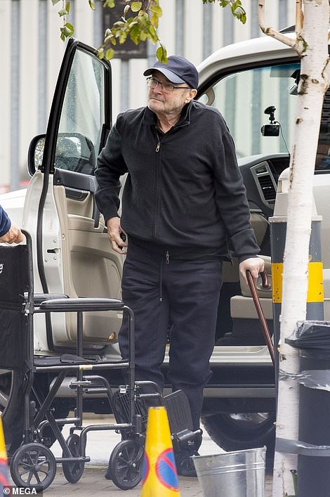Gently does it: Appearing extremely frail on Tuesday, he was clad in comfortable sportswear and a baseball cap as he was met with his bandmate