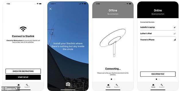 The service includes a companion app that displays connection and other details of the service