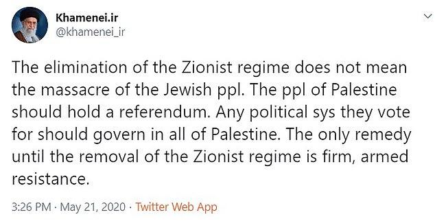 Khamenei tweeted about the