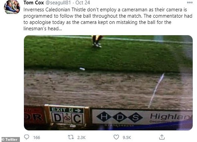 A fan tweeted a screenshot of the club's AI camera tracking an unnamed ref's bald head instead of the soccer ball. Inverness Caledonian Thistle Football Club, commonly known as Caley Thistle, competes in the Scottish Championship, the second tier of the Scottish Professional Football League