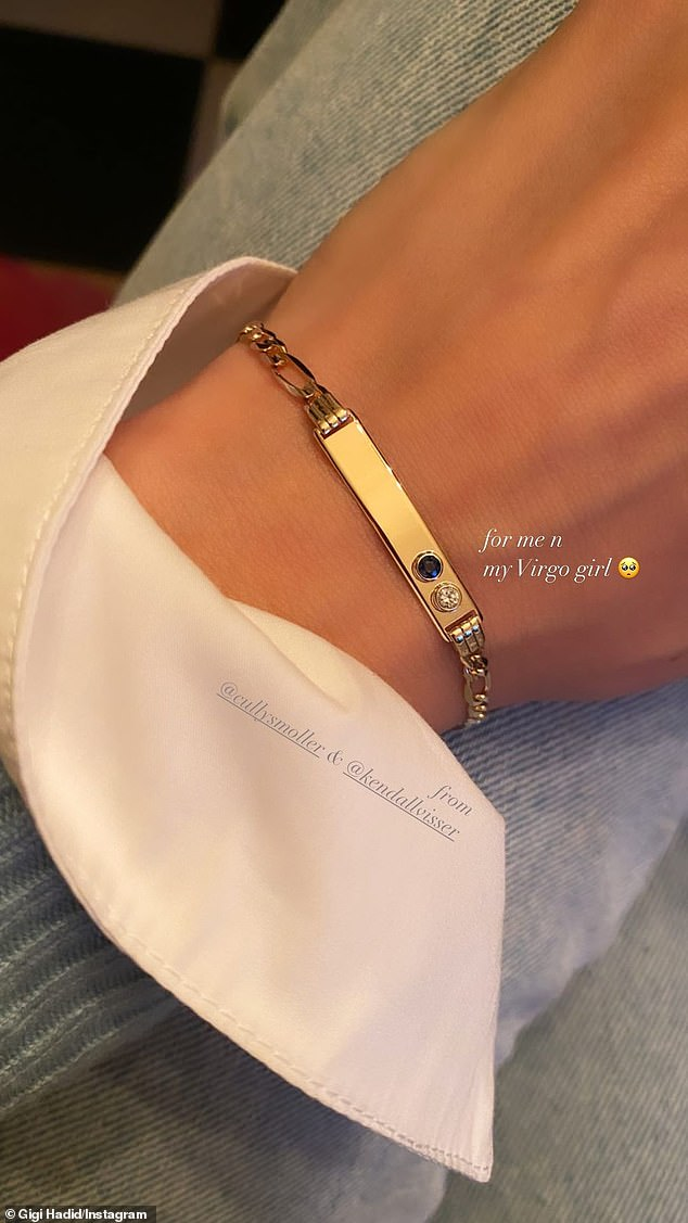 Wow! Her friends, Kendall Visser and Cully Smoller, also sent a stunning gold bracelet, which featured a blue sapphire, which is her daughter's birthstone