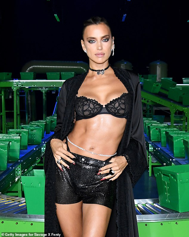 Wow factor: Irina Shayk, 34, was one of the top models recruited to take on the show and looked gorgeous in a sassy black ensemble with a glittering belly chain