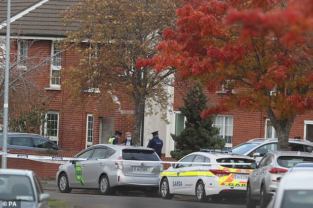 Gardai are pictured at the house in Ballinteer in south Dublin. Officers reportedly broke into the property after worrying about the well-being of the people inside