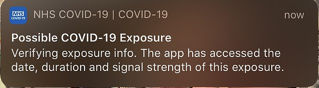 Many users were getting alerts which were 'default messages' from Apple and Google, saying 'Possible COVID-19 exposure', 'COVID-19 EXPOSURE LOGGING' or 'COVID-19 Exposure Notifications'. Pictured, an example of the phantom notification