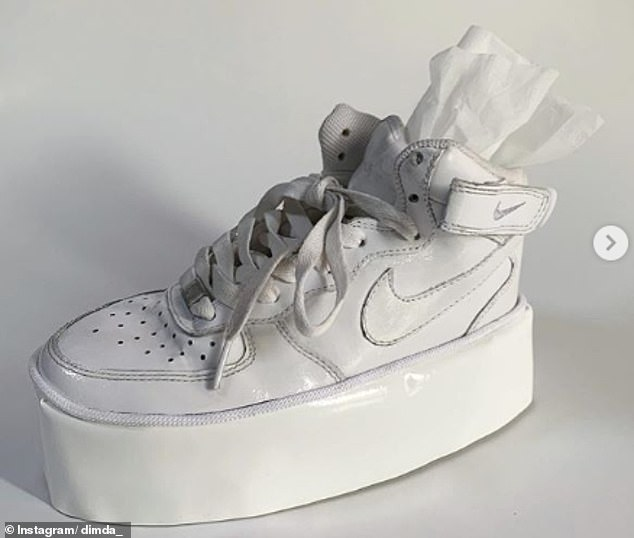One image shared by the fashion designer shows a customised Nike AF1 tissue box