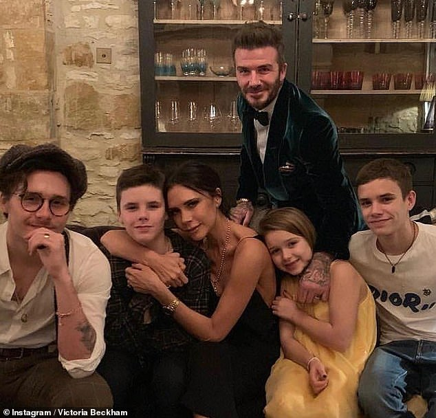 Family: It comes amid reports that David and Victoria have been enjoying I'm A Celebrity and are backing Beverley Callard to win (pictured with their children Brooklyn, 21, Cruz, 15, Harper, nine, and Romeo, 18)