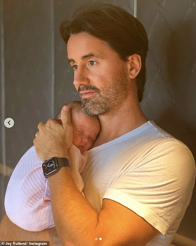 Doting dad:Late last month Jay once again took to the photo-sharing app to share sweet snaps of baby Serena as the couple marked six weeks with their newborn