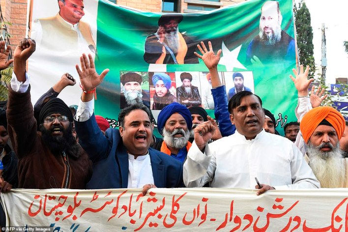 Members of Pakistan minority protest in Quetta following French President Emmanuel Macron's comments over the Prophet Mohammed caricatures
