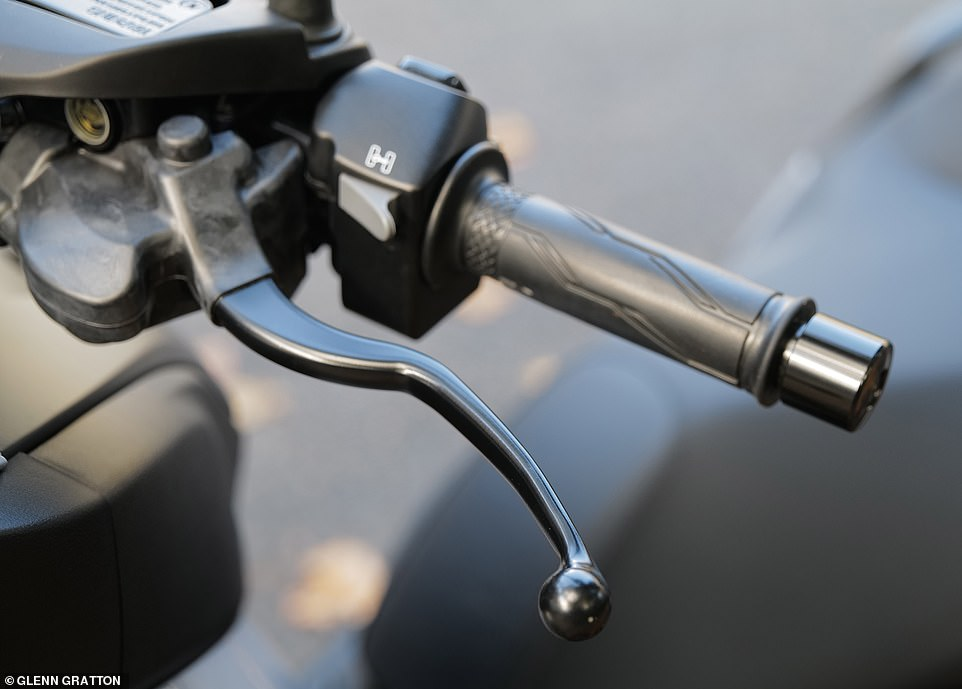 The'Standing Assist' feature is activated by the grey button on the reverse of the handlebar. It can be turned on at speed of less than 8mph