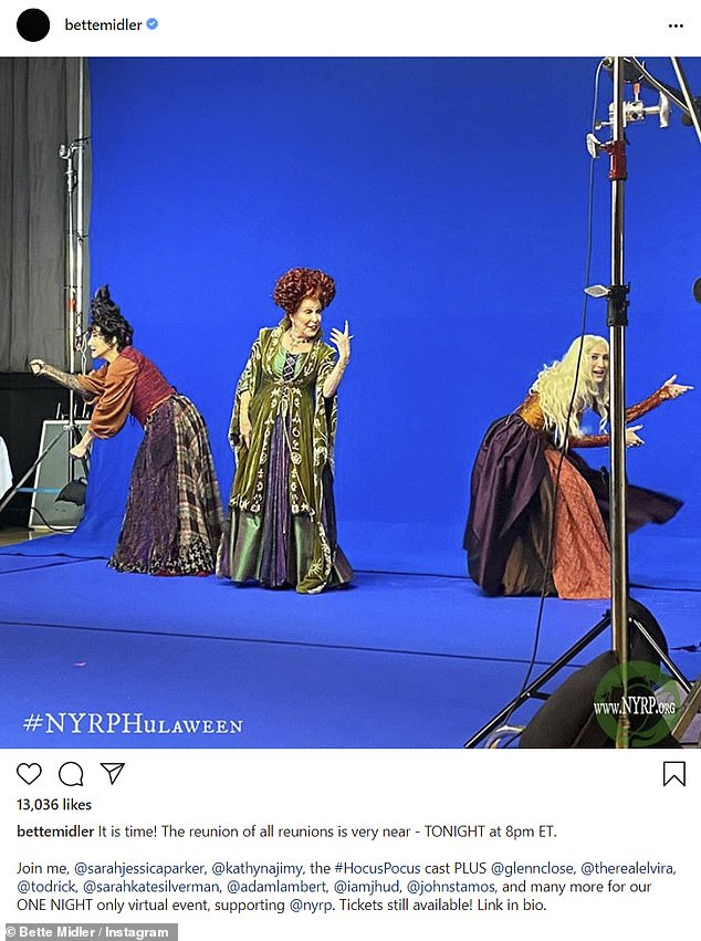 Latest Look: Bette Midler, 74, shared one final photo from her Hocus Pocus reunion with Sarah Jessica Parker and Kathy Najimy on Friday ahead of their performance at the New York Restoration Project.