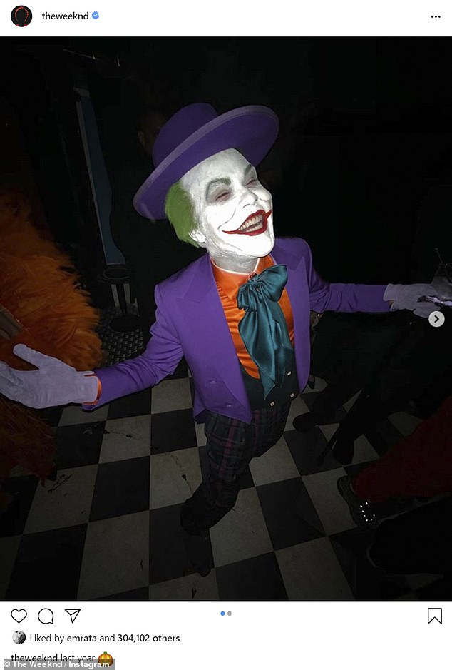 'Last year':The Weeknd was feeling similarly nostalgic, looking back on 2019 when he dressed as The Joker as played by Jack Nicholson in the 1980s
