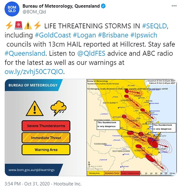 'Very dangerous thunderstorms ... supercell thunderstorms that could lead to giant hail and destructive wind gusts in excess of 125km/h,' meteorologist James Thompson said