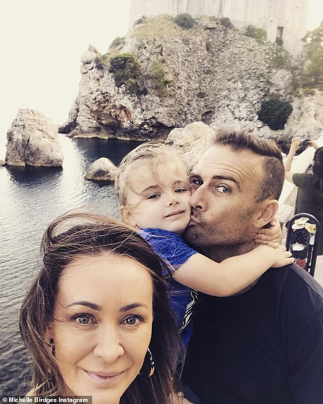 Co-parenting: Rumours of their romance came shortly after Steve's dramatic split from his longtime partner Michelle Bridges in January. Steve and Michelle co-parent four-year-old son Axel. Pictured together is Michelle, Axel and Steve in 2019