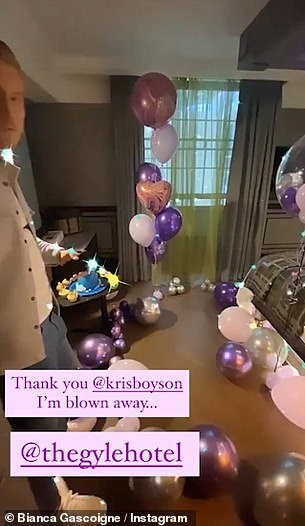Treat: Earlier in the evening, Bianca took to her Instagram Stories to share footage of the ballroom-filled suite her beau Kris Bosyon had treated her to at a luxe London hotel