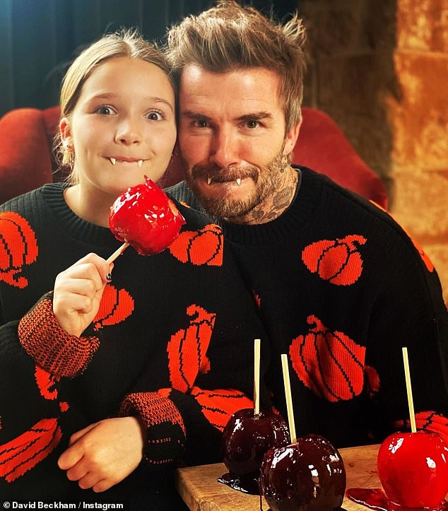 Happy Halloween!David Beckham and his daughter Harper Seven were among the stars enjoying indoor Halloween festivities after the pandemic thwarted trick-or-treat plans