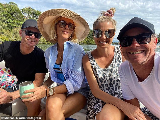 Loved up: They were romantically linked just days after it Michael and Kyly announced split back in February. Pip and Michael confirmed their relationship in July when they were spotted enjoying a romantic vacation in Noosa. Pictured right is the couple with their friends on the left