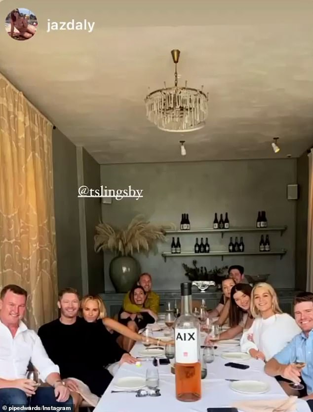 Lunch with friends: Joining Pip for lunch was her best pal Jaz Daly (fourth on the left), who took to her Instagram page to share a group photo at the table, which included former Bachelor stars Brittany Hockley (third on the right) and Helena Sauzier (second on the right)