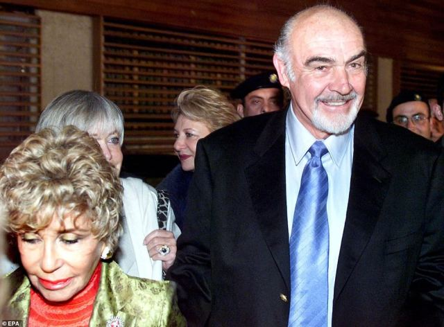 Sean Connery accompanies his wife Micheline Roquebrune to Athinais gallery to open an exhibition of her paintings in Athens, Greece, 2001