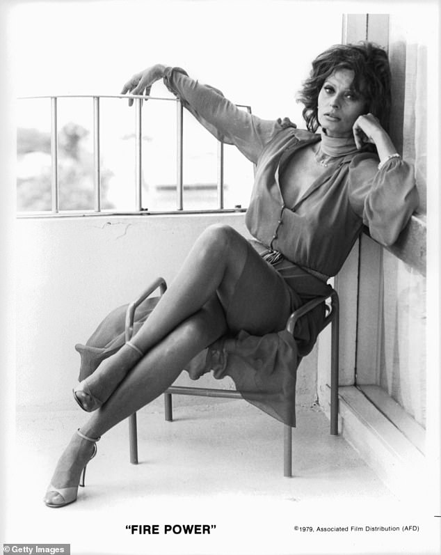 Sophia Loren in a sexy pose in a scene from the film 'Fire Power', 1979.The mother-of-two added that she feels like she is 'losing time' and 'trying to be strong and positive' and 'convince herself that everything will be fine'.