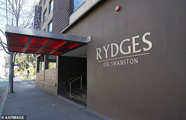 Elite Protection Services ran security at Rydges Hotel Swanston (pictured) when the state government first rolled out mandatory quarantine in Victoria