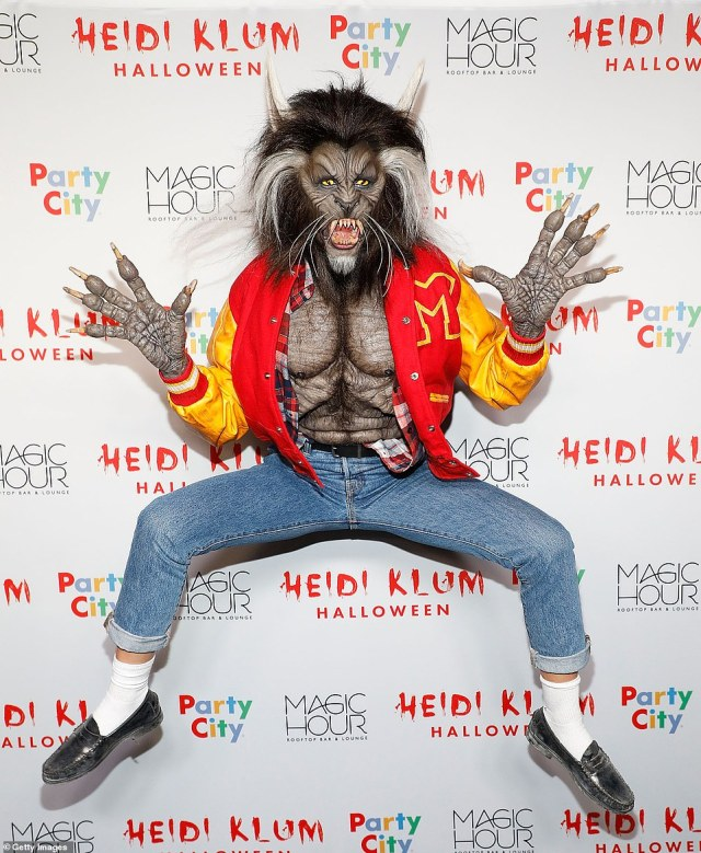 Thriller: Like Vanessa Hudgens, Klum is an outspoken celebrity fan of Halloween, making sure to wow the masses each year with her costumes; seen at her own Halloween party in 2017