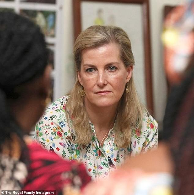 The Countess of Wessex has penned an article paying tribute to the work of women peacebuilders internationally, saying she wants to 'give a voice to women who are being denied their fundamental rights'. She is pictured meeting with peacemakers before the pandemic