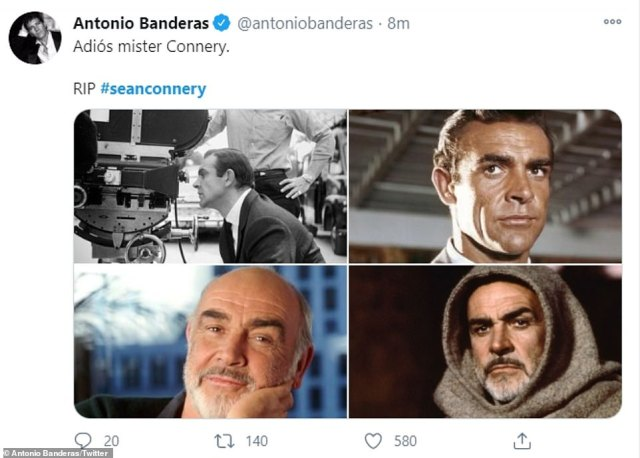 Farewell: Antonio Banderas shared a slew of snaps of Connery from over the years, writing: 'Adios mister Connery'