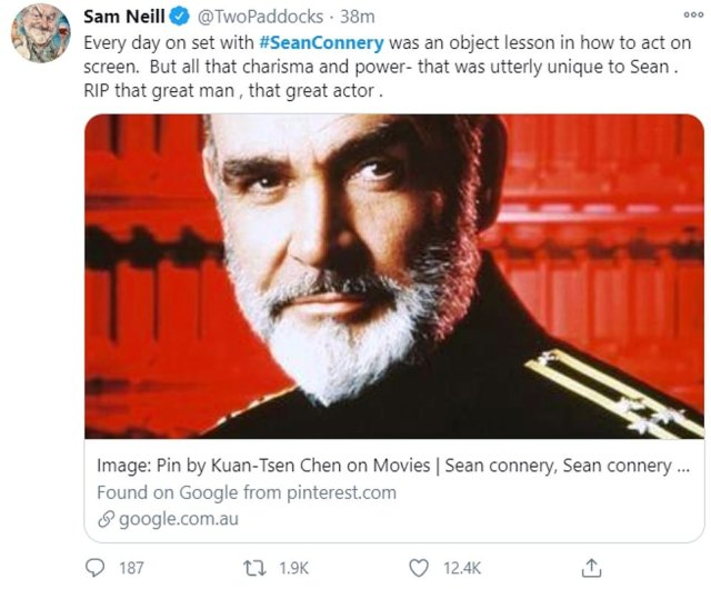 Looking back: Sam Neill, who starred with Connery in The Hunt For Red October (pictured), reminisced of their time together: 'Every day on set with #SeanConnery was an object lesson in how to act on screen'