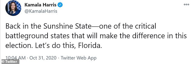 Harris is in Florida Saturday to encourage early voting, which concludes in the Sunshine State Sunday at 7 p.m.