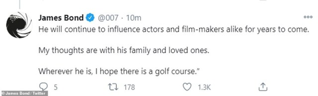 Icon: The No Time To Die star sharing a statement via the franchise's official Twitter page that read: 'Sir Sean Connery will be remembered as Bond and so much more. He defined an era and a style'
