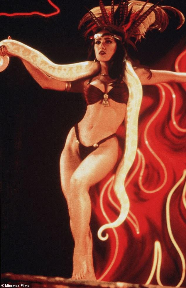 Iconic: Alexandra modelled her photoshopped look onSalma Hayek'ssnake-dancing stripper vampire in the1996 American horror film