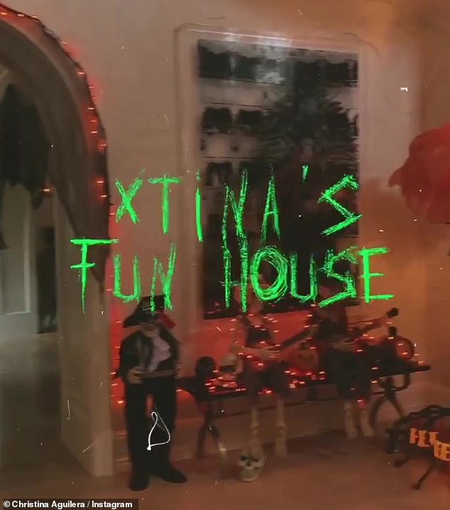 Spooky:The posts came the day after Aguilera gave her followers a tour of 'Xtina's Fun House' via a fabulous video post
