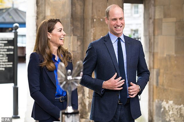 The Duke of Cambridge, 38, has followed in his father Prince Charles' footsteps as a passionate campaigner to live in a greener world, with him recently saying he 'gets upset and is kept awake at night by politicians' failure to act over climate change . He is pictured last week with wife Kate Middleton