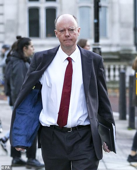 Chief medical officer Chris Whitty in Whitehall today