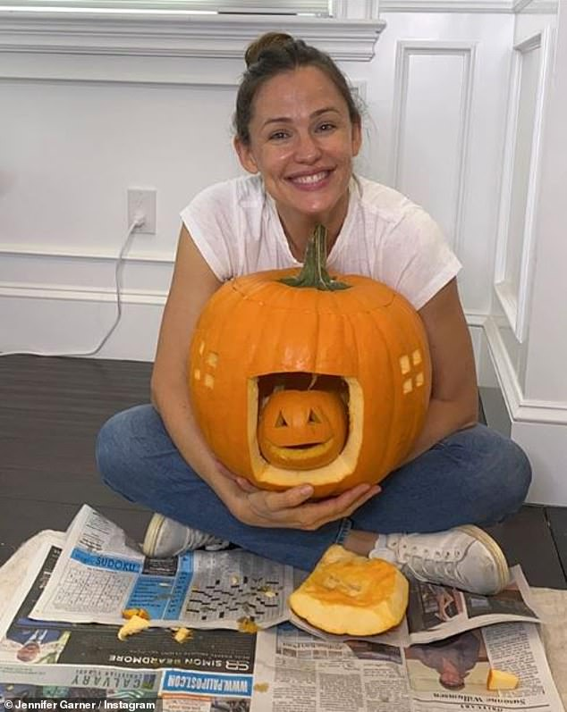 Pumpkin master: Garner showed off her incredible carving skills as she debuted one of her pumpkins on social media
