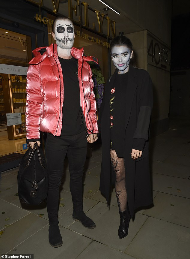 All made up! Faye Brookes looked sensational as she showed off her creepy Halloween makeup alongside her beau Joe Davis in Manchester on Saturday